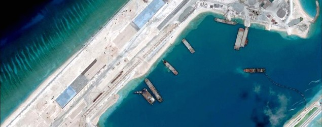 This satellite image shows what is claimed to be an airstrip in the disputed South China Sea. (AFP Photo/Digitalglobe)