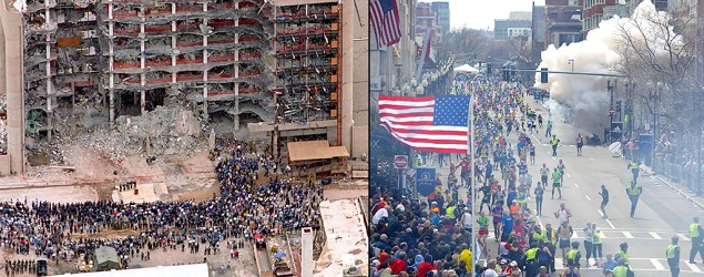 Oklahoma City and Boston Marathon bombings are linked by an enduring mystery. (Bill Waugh/AP; Tom Green/ZUMAPRESS.com)