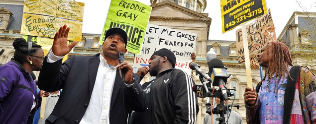 Edward Brown speaks at a protest outside City Hall about Freddie Gray in Baltimore, Monday, April 20, 2015. (Amy Davis/AP)