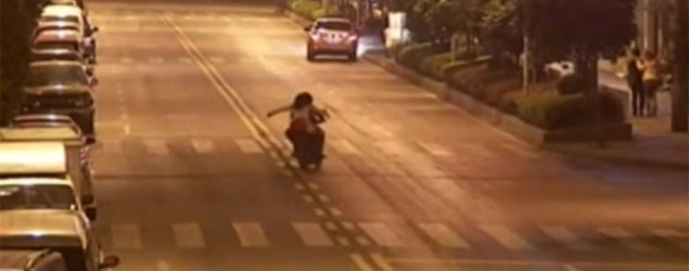 Hilarious CCTV footage has emerged from China