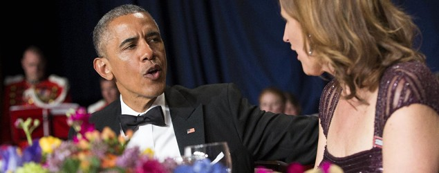 President Barack Obama tosses political zingers at annual White House Correspondents' Dinner. (AP)