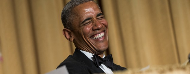 Obama ready for closing shots at final WHCD. (AP)
