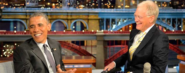 Obama bids farewell to retiring Letterman. (John Filo/CBS via AP)