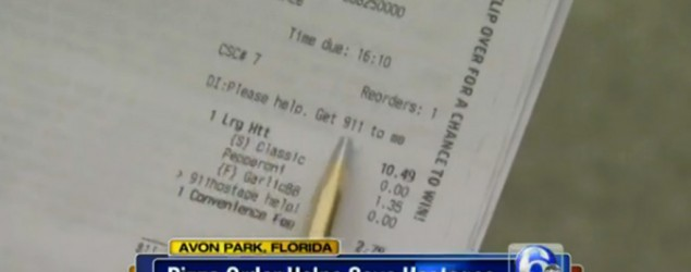 Woman uses pizza order to call for help.