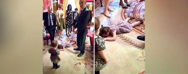 Obama speechless at little girl's temper tantrum. (Twitter)
