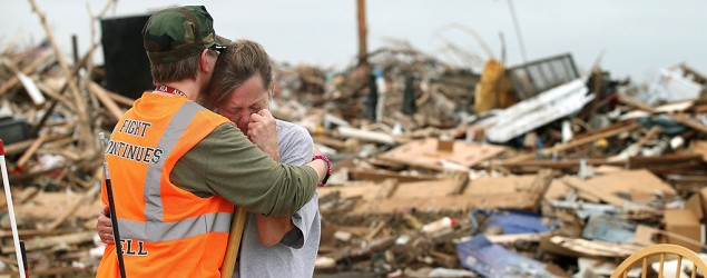 """Moore, Okla., endures under the """"mercy of the sky."""" (Getty Images)"""