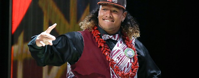 Defensive tackle Danny Shelton arrived at the NFL draft in Chicago wearing traditional Samoan dress. (Getty Images)
