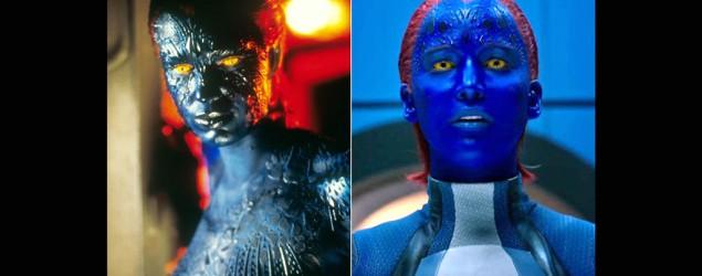 Rebecca Romijn, left, and Jennifer Lawrence as Mystique. (Twentieth Century Fox)