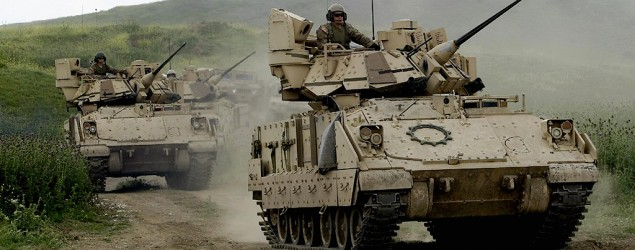 The U.S. is poised to roll out tanks and heavy military equipment in Europe. (AP)