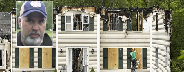 Aaron Rice, inset, described how his family survived a plane crashing into their home. (Steven Senne/AP)