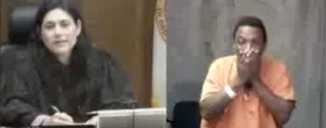 Suspect cries as he realizes judge is childhood friend