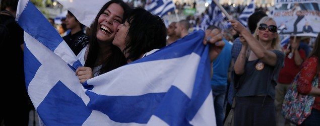 Greece votes 'no' to bailout, Europe reacts. (Petros Giannakouris/AP)