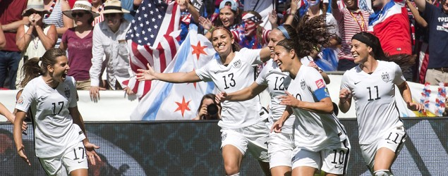 U.S. teammates, from left to right, Tobin Heath (17), Alex Morgan (13), Lauren Holiday (12), Carli Lloyd (10) and Ali Krieger (11) celebrate a goal against Japan, on Sunday, July 5, 2015. (Jonathan Hayward/The Canadian Press via AP)