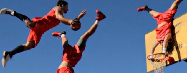 Extreme acro-basketball team perform gravity-defying stunts