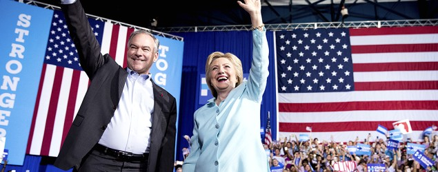 Hillary Clinton and Tim Kaine in Miami. (AP Photo/Andrew Harnik)