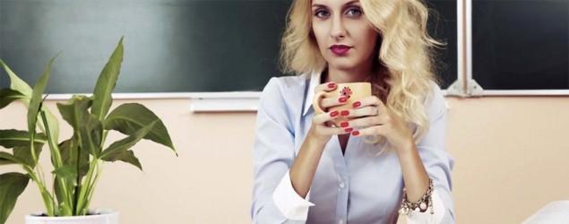 A teacher drinking