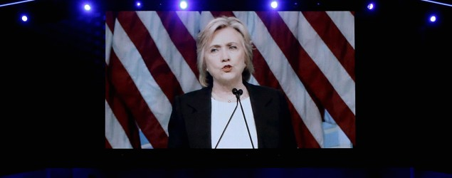 Hillary Clinton delivers a video message at the Democratic National Convention in Philadelphia. (Reuters)