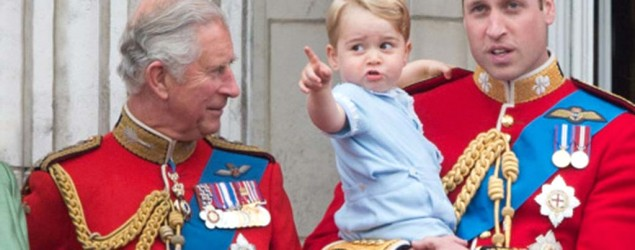 The Duke of Cambridge with Prince George and Prince Charles (PA)
