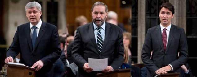 Three images showing Canadian Prime Minister Stephen Harper, NDP leader Tom Mulcair and Liberal leader Justin Trudeau in the House of Commons on Tuesday March 24, 2015. On the campaign's eve, Tories atop fundraising list, but NDP leaps to second place. THE CANADIAN PRESS/Adrian Wyld