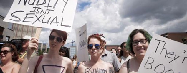 Topless women in Canada hold rally