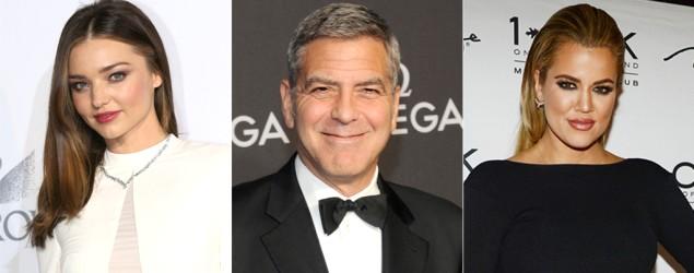 Miranda Kerr, George Clooney, Khloe Kardashian. Photo: Getty Images