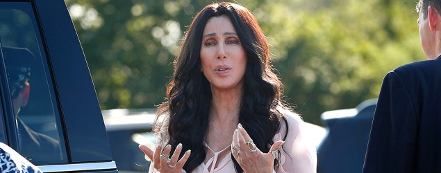 Cher outside a Hillary Clinton rally in Provincetown, Mass. (AP)