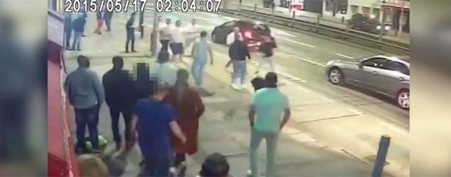 CCTV of high street brawl