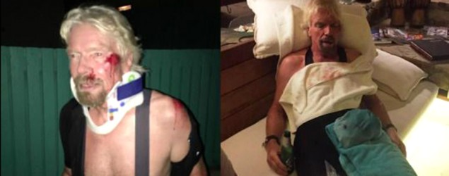 Richard Branson's injuries. (Virgin.com)