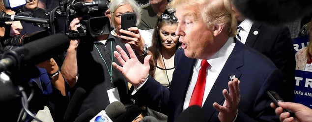 Republican presidential candidate Donald Trump speaks to the media. (Reuters)