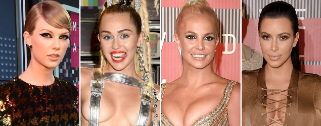 Taylor Swift, Miley Cyrus, Britney Spears, and Kim Kardashian at the MTV Video Music Awards (Getty Images)