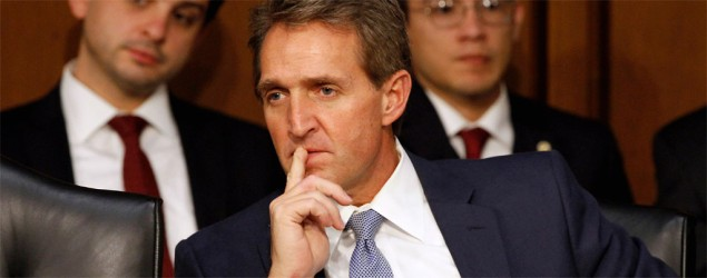 Sen. Jeff Flake, R-Ariz., listens during a Senate Judiciary Committee hearing on Capitol Hill in Washington. (Jacquelyn Martin/AP)