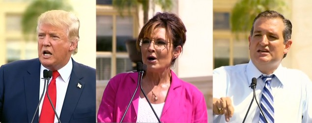 Trump, Cruz, Palin hold anti-Iran deal rally in D.C. (AP; Getty Images)