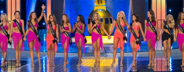 The top 16 contestants take the stage during the final 2015 Miss America Competition in Atlantic City. (Reuters)