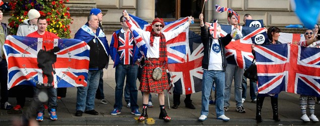 """""""No"""" supporters for the Scottish independence referendum celebrate at a hotel in Glasgow. (Matt Dunham/AP)"""