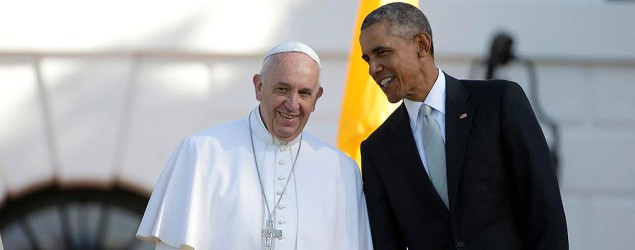 Pope calls for action on climate change in a meeting with U.S. President Barack Obama. (Pablo Martinez Monsivais/AP)
