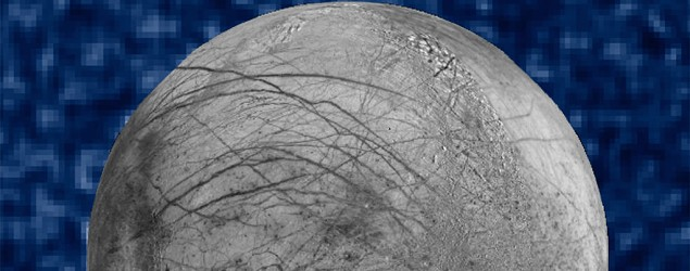 A composite image of possible water plumes on the south pole of Jupiter's moon Europa. (NASA/AP)