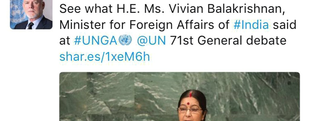 Vivian Balakrishnan mistaken for female Indian minister