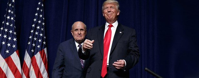 Donald Trump with Rudy Giuliani in Greenville, N.C. (Evan Vucci/AP)