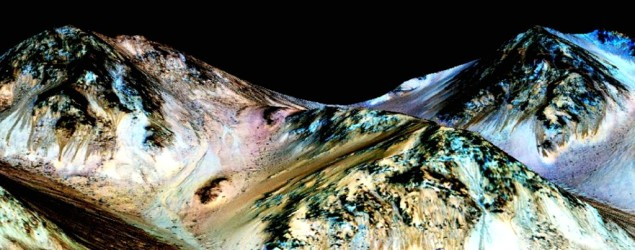 Lines seen on Red Planet point to liquid water. (NASA)