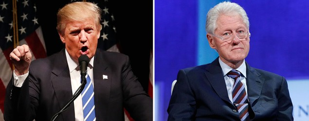 Donald Trump goes all in on Bill Clinton's past. (Getty Images)