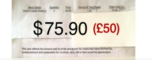 Guest's shocked at $75 for missing wedding