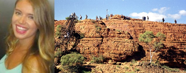 "Trekkers atop a ridge of Kings Canyon, the place where backpacker Zoe Woolmer ""stepped on air"" before falling 15 metres. Photo: Jim Shrimpton"