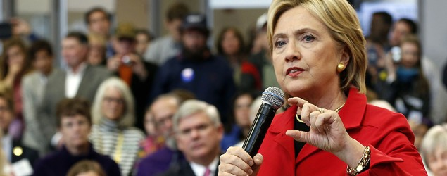 Democratic presidential candidate Hillary Rodham Clinton speaks during a campaign stop at the Manchester Community College. (Jim Cole/AP)