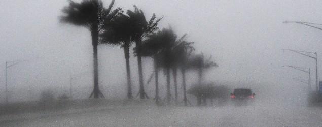 Commuters make their way through heavy rain in Jacksonville, Fla., as Hurricane Matthew approaches (AFP)