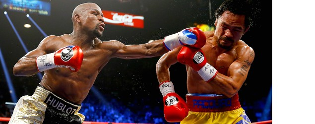 Floyd Mayweather fights Manny Pacquiao. (Getty Images)