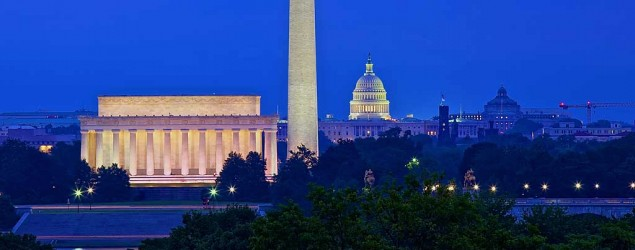 A skyline view of Washington, D.C., at dusk. (Getty Images)