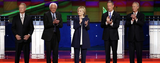 Clinton, Sanders meet in first Democratic debate. (AP)