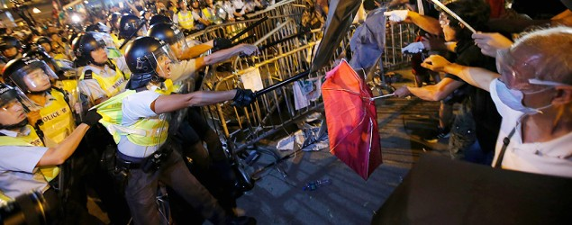Violent clashes erupt in Hong Kong protest hotspot. (Reuters)