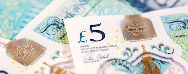 Bank of England's new polymer five pound note