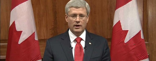 Canada's Prime Minister Stephen Harper speaks during a nationally televised address. (Reuters)